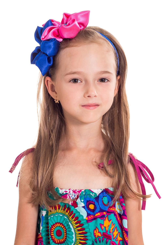 ОбодокУкрашения<br>Ободок для девочки дополнит образ и поднимет настроение Вашему ребенку.  В изделии использованы цвета: ярко-розовый, синий<br><br>По сезону: Всесезон<br>Размер : UNI<br>Материал: Атлас<br>Количество в наличии: 2