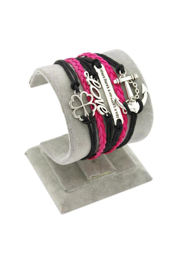 БраслетБраслеты<br>Оригинальный браслет ввиде переплетенных ремешков.  Цвет: черный, розовый<br><br>По материалу: Кожа<br>По сезону: Всесезон<br>По стилю: Повседневный стиль<br>Размер : UNI<br>Материал: Искусственная кожа<br>Количество в наличии: 1
