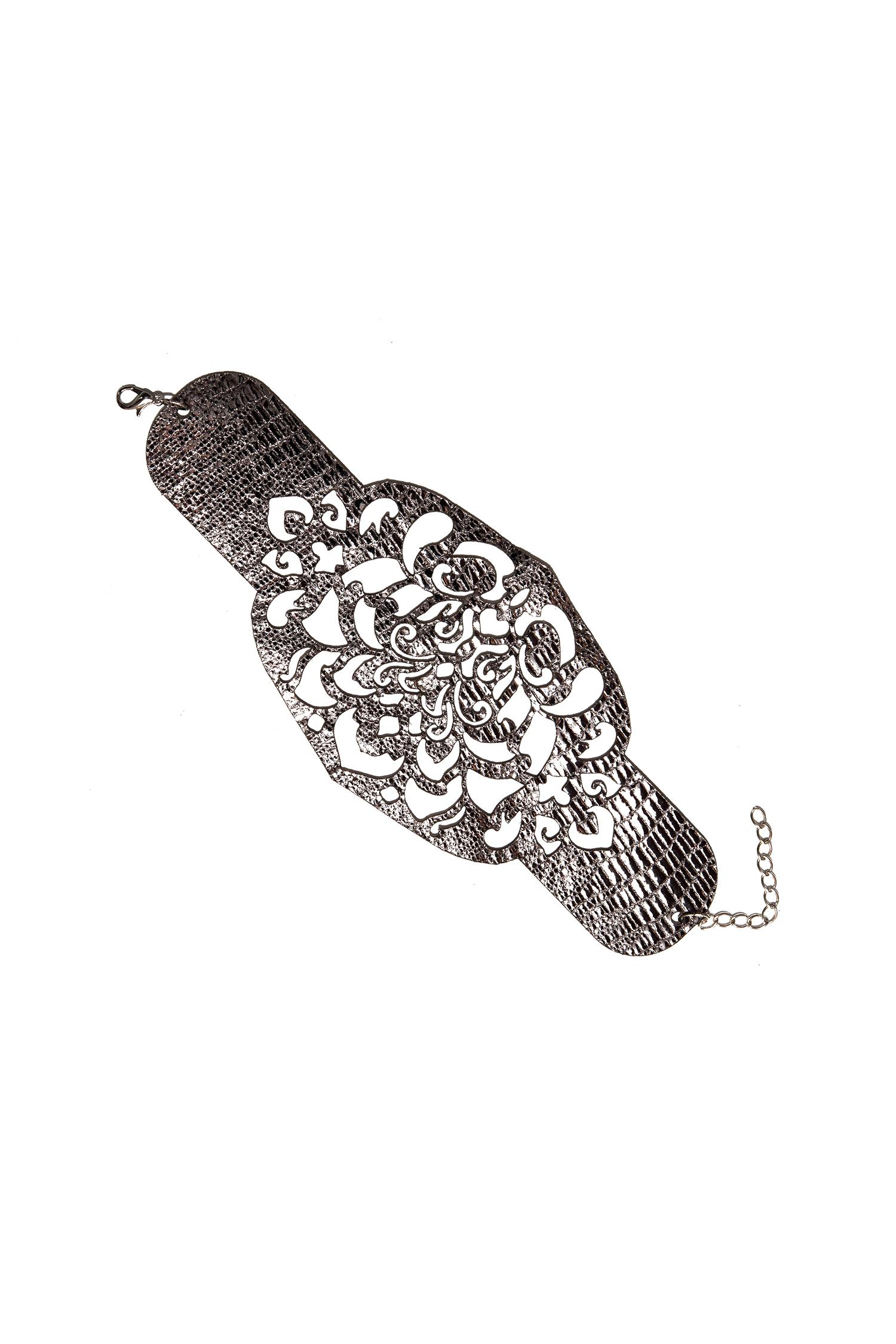 БраслетБраслеты<br>Изысканный образ подчернет браслет из натуральной кожи.  Длина: 24 см. с цепочкой (18 см. без цепочки), ширина: 7,5 см  Материал: натуральная кожа, металлическая фурнитура   Цвет: коричневый<br><br>По материалу: Кожа<br>Размер : UNI<br>Материал: Натуральная кожа<br>Количество в наличии: 3