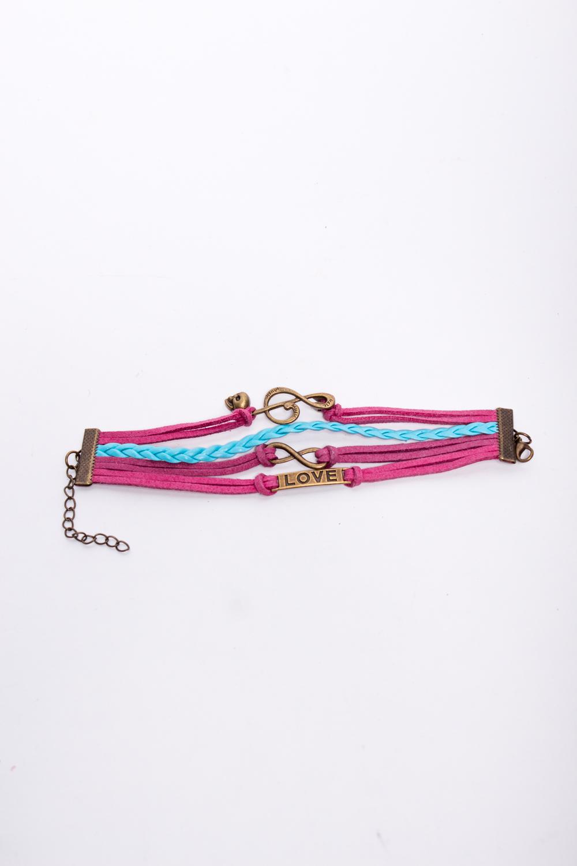 БраслетБраслеты<br>Оригинальный браслет ввиде переплетенных ремешков.  В изделии использованы цвета: розовый, голубой<br><br>По материалу: Кожа<br>По стилю: Повседневный стиль<br>Размер : UNI<br>Материал: Искусственная кожа<br>Количество в наличии: 1