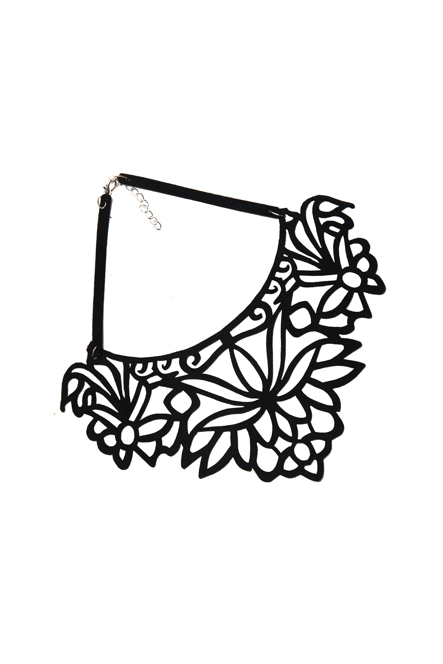 КольеОжерелья<br>Модное колье из кожи станет эффективным дополнением к вечернему платью, блузке или костюму.  Длина: 34 см, ширина: 10 см  Материал: эко-кожа, металлическая фурнитура  Цвет: черный<br><br>По материалу: Кожа<br>По стилю: Повседневный стиль<br>Размер : UNI<br>Материал: Искусственная кожа<br>Количество в наличии: 3