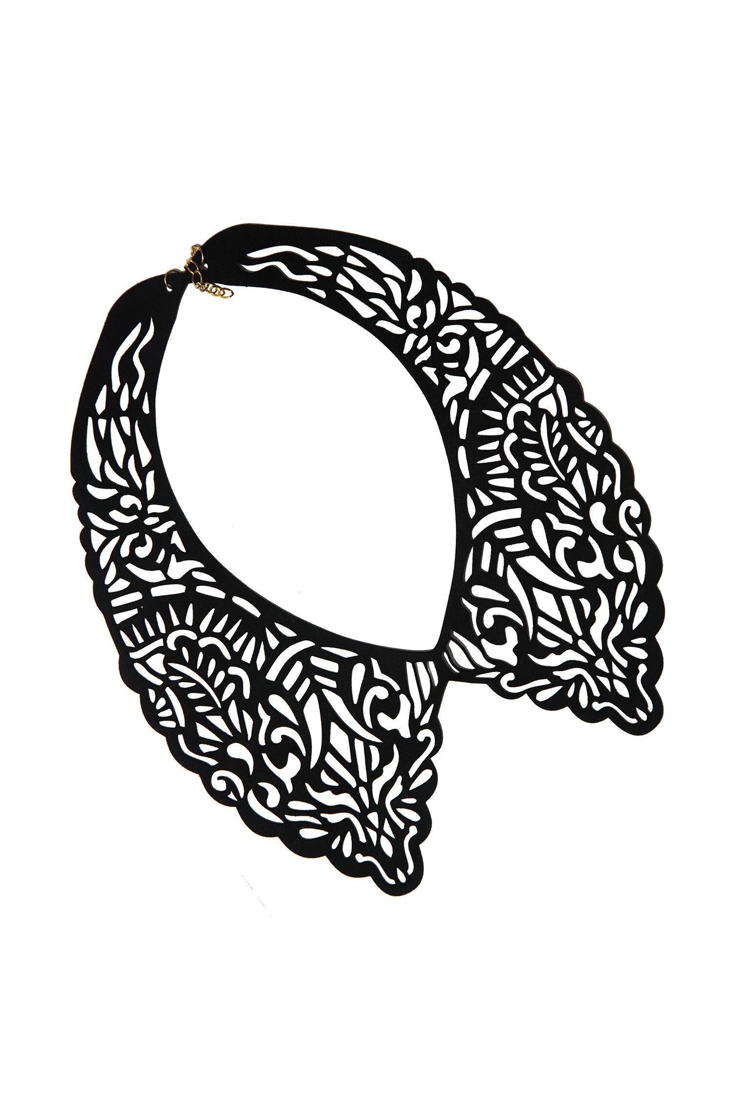 КольеОжерелья<br>Модное колье из кожи станет эффективным дополнением к вечернему платью, блузке или костюму.  Длина: 40 см, ширина: 9 см  Материал: натуральная кожа, металлическая фурнитура  Цвет: черный<br><br>По материалу: Кожа<br>По стилю: Повседневный стиль<br>Размер : UNI<br>Материал: Натуральная кожа<br>Количество в наличии: 3