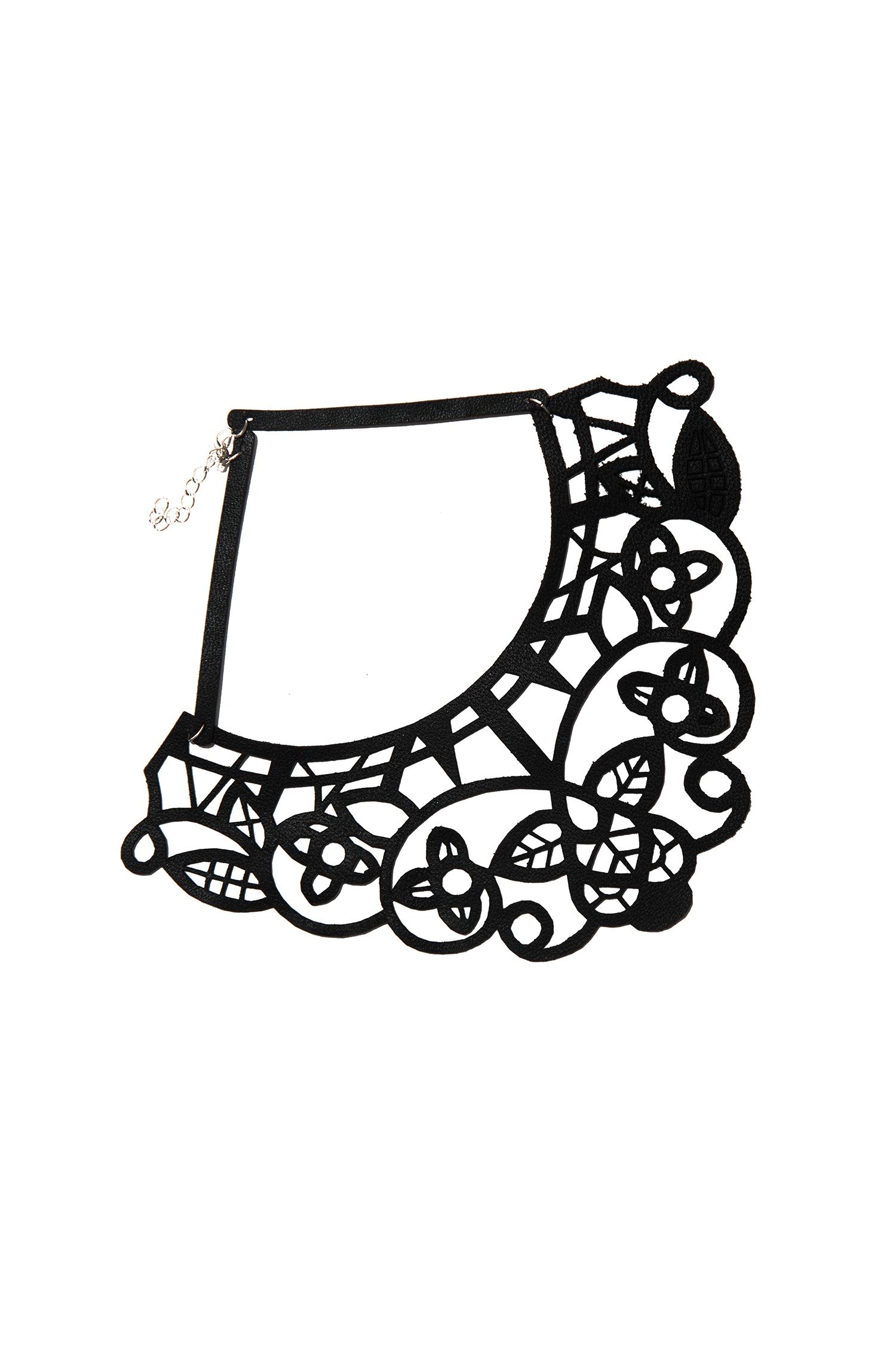 КольеОжерелья<br>Модное колье из кожи станет эффективным дополнением к вечернему платью, блузке или костюму.  Длина: 37 см, ширина: 8 см  Материал: натуральная кожа, металлическая фурнитура  Цвет: черный<br><br>По материалу: Кожа<br>По стилю: Повседневный стиль<br>Размер : UNI<br>Материал: Натуральная кожа<br>Количество в наличии: 3
