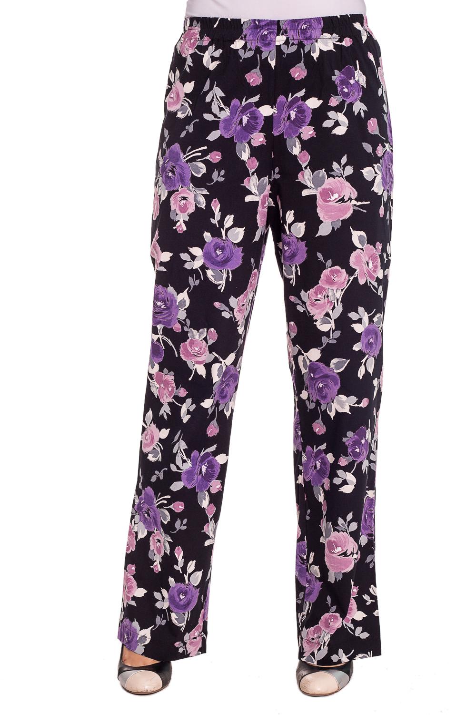 БрюкиБрюки<br>Привлекательные брюки из хлопкового материала с цветочным принтом. Отличный выбор для повседневного гардероба.  Цвет: черный, розовый, сиреневый  Рост девушки-фотомодели 180 см<br><br>По материалу: Хлопок<br>По рисунку: Растительные мотивы,Цветные,Цветочные,С принтом<br>По сезону: Лето<br>По стилю: Повседневный стиль,Летний стиль<br>По элементам: С резинкой<br>По силуэту: Полуприталенные<br>Размер : 48,50<br>Материал: Хлопок<br>Количество в наличии: 2