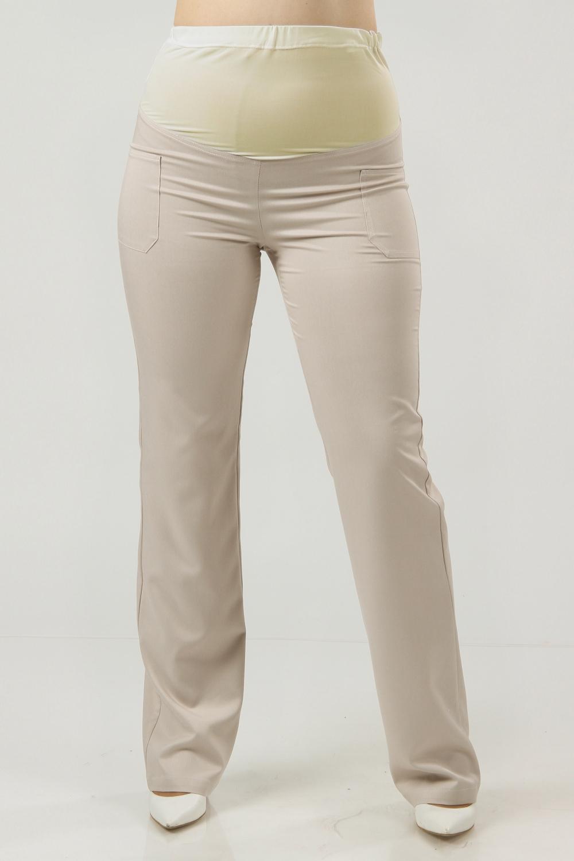 БрюкиБрюки для будущих мам<br>Удобные и красивые летние брюки из  ткани стретч прямого фасона.  Хороши как для повседневной носки, так и для будущих мам, так как верхняя часть выполнена из трикотажного полотна. Украшены карманами.   Цвет: бежевый  Рост девушки-фотомодели 176 см<br><br>По материалу: Вискоза<br>По рисунку: Однотонные<br>По силуэту: Приталенные<br>По сезону: Лето,Осень,Весна<br>По стилю: Повседневный стиль<br>Размер : 44,48,52<br>Материал: Вискоза<br>Количество в наличии: 4