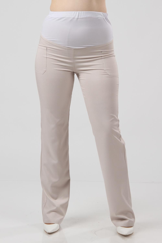 БрюкиБрюки для будущих мам<br>Удобные и красивые летние брюки из  ткани стретч прямого фасона.  Хороши как для повседневной носки, так и для будущих мам, так как верхняя часть выполнена из трикотажного полотна. Украшены карманами.   Цвет: бежевый  Рост девушки-фотомодели 176 см<br><br>По материалу: Вискоза<br>По рисунку: Однотонные<br>По силуэту: Приталенные<br>По сезону: Лето,Осень,Весна<br>По стилю: Повседневный стиль<br>Размер : 48,50<br>Материал: Вискоза<br>Количество в наличии: 2