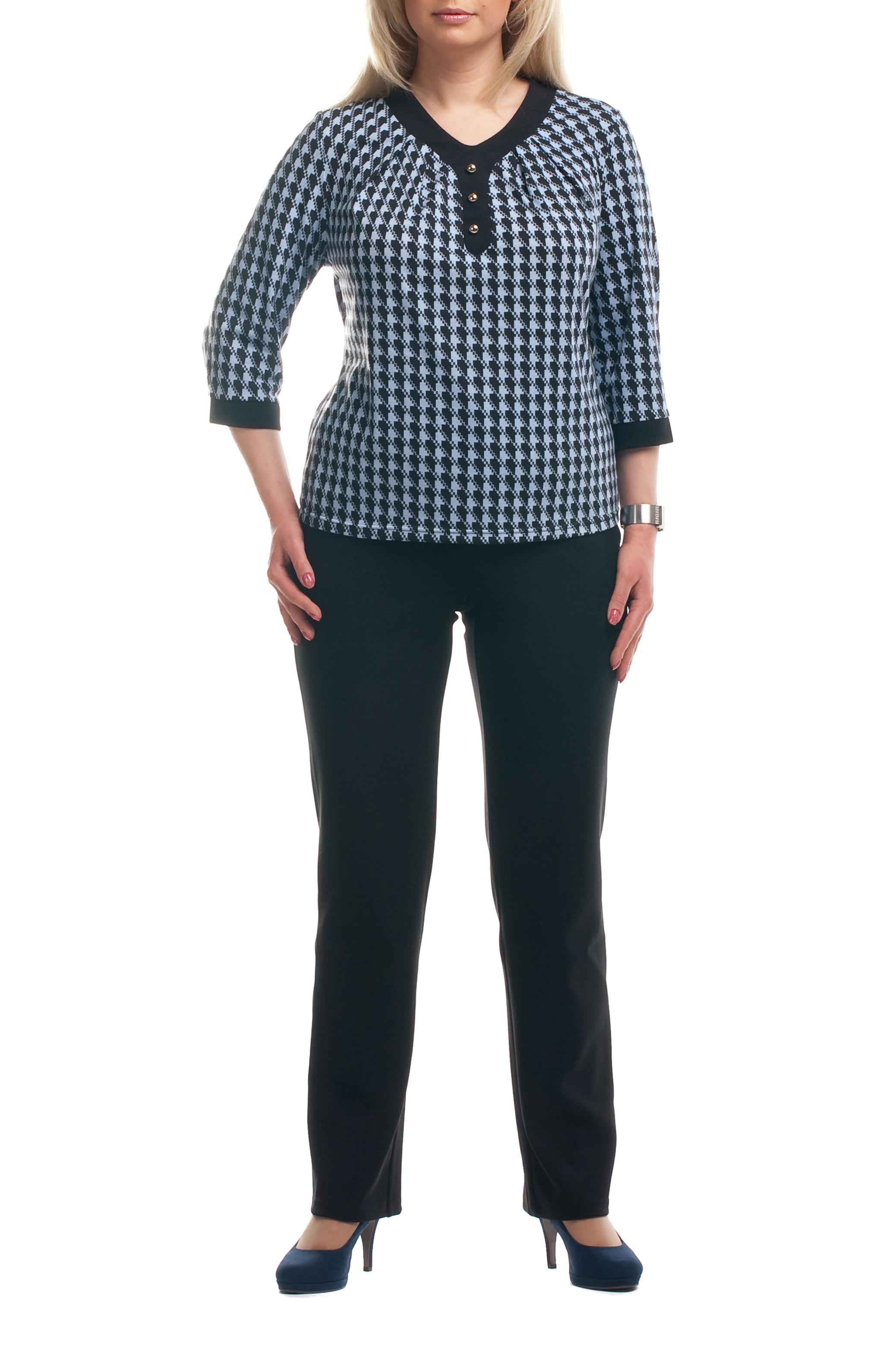 БрюкиБрюки<br>Удобные брюки из плотного материала. Отличный выбор для любого случая.  Цвет: черный  Рост девушки-фотомодели 173 см<br><br>По материалу: Трикотаж<br>По рисунку: Однотонные<br>По сезону: Весна,Осень,Зима<br>По силуэту: Полуприталенные<br>По стилю: Классический стиль,Офисный стиль,Повседневный стиль<br>По элементам: С резинкой<br>Размер : 64,66,68,70<br>Материал: Трикотаж<br>Количество в наличии: 13