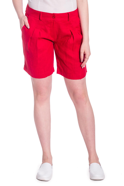 ШортыШорты<br>Удобные шорты с высокой талией. Модель выполнена из натурального льна. Отличный выбор для повседневного гардероба.  В изделии использованы цвета: красный  Рост девушки-фотомодели 170 см<br><br>По длине: До колена<br>По материалу: Лен<br>По рисунку: Однотонные<br>По стилю: Летний стиль,Повседневный стиль<br>По элементам: С декором,С завышенной талией,С карманами<br>По сезону: Лето<br>Размер : 44,46<br>Материал: Лен<br>Количество в наличии: 3