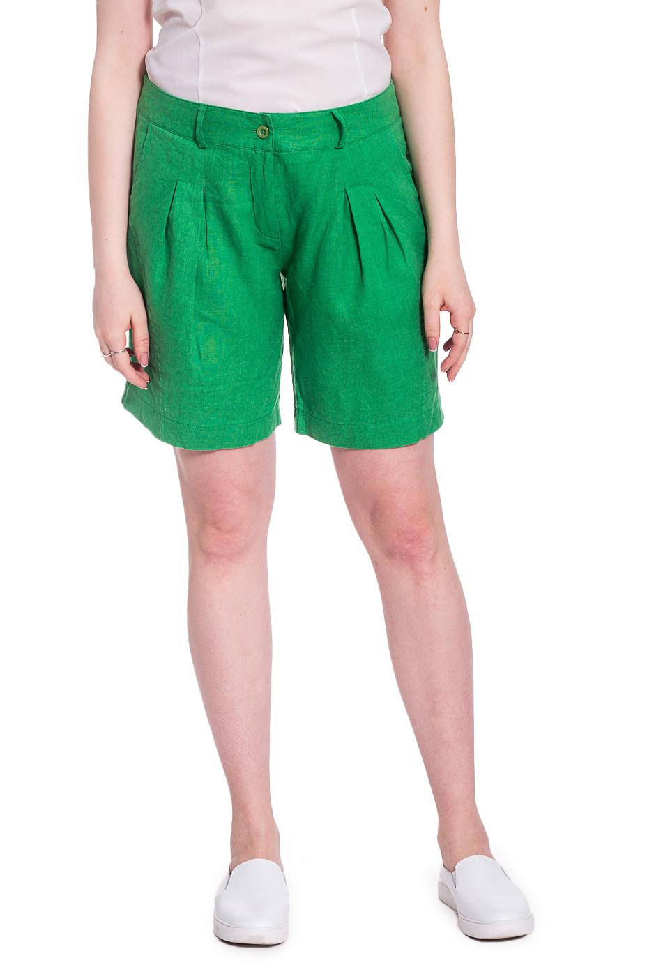 ШортыШорты<br>Удобные шорты с высокой талией. Модель выполнена из натурального льна. Отличный выбор для повседневного гардероба.  В изделии использованы цвета: зеленый  Рост девушки-фотомодели 170 см<br><br>По длине: До колена<br>По материалу: Лен<br>По рисунку: Однотонные<br>По стилю: Летний стиль,Повседневный стиль<br>По элементам: С декором,С завышенной талией,С карманами<br>По сезону: Лето<br>Размер : 48<br>Материал: Лен<br>Количество в наличии: 1