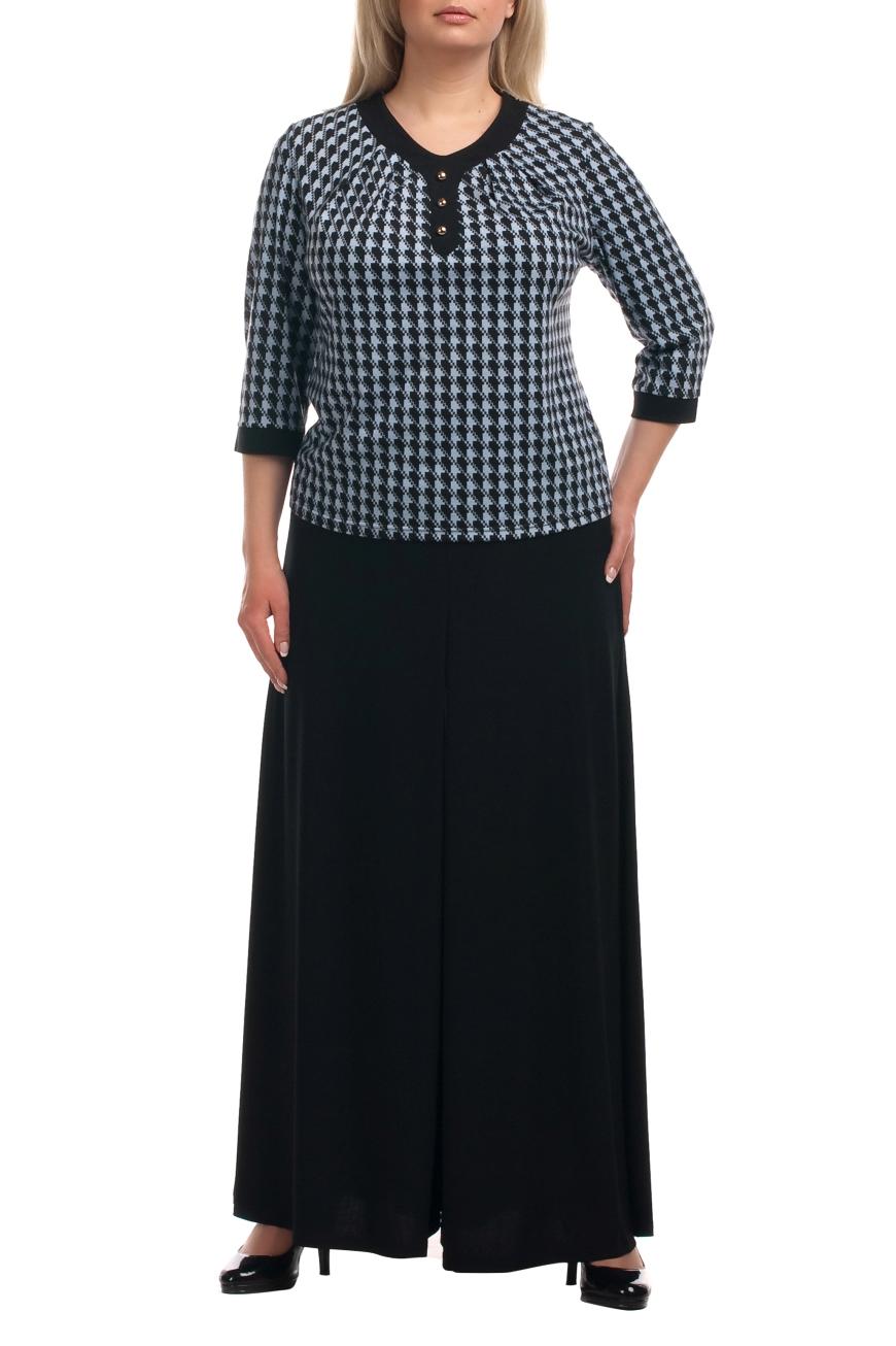 БрюкиБрюки<br>Интересные брюки-юбка из струящегося трикотажа. Отличный выбор для любого случая.  Цвет: черный  Рост девушки-фотомодели 173 см<br><br>По материалу: Вискоза,Трикотаж<br>По рисунку: Однотонные<br>По сезону: Весна,Осень<br>По силуэту: Свободные<br>По стилю: Офисный стиль,Повседневный стиль<br>По форме: Шаровары<br>Размер : 64,66<br>Материал: Холодное масло<br>Количество в наличии: 2