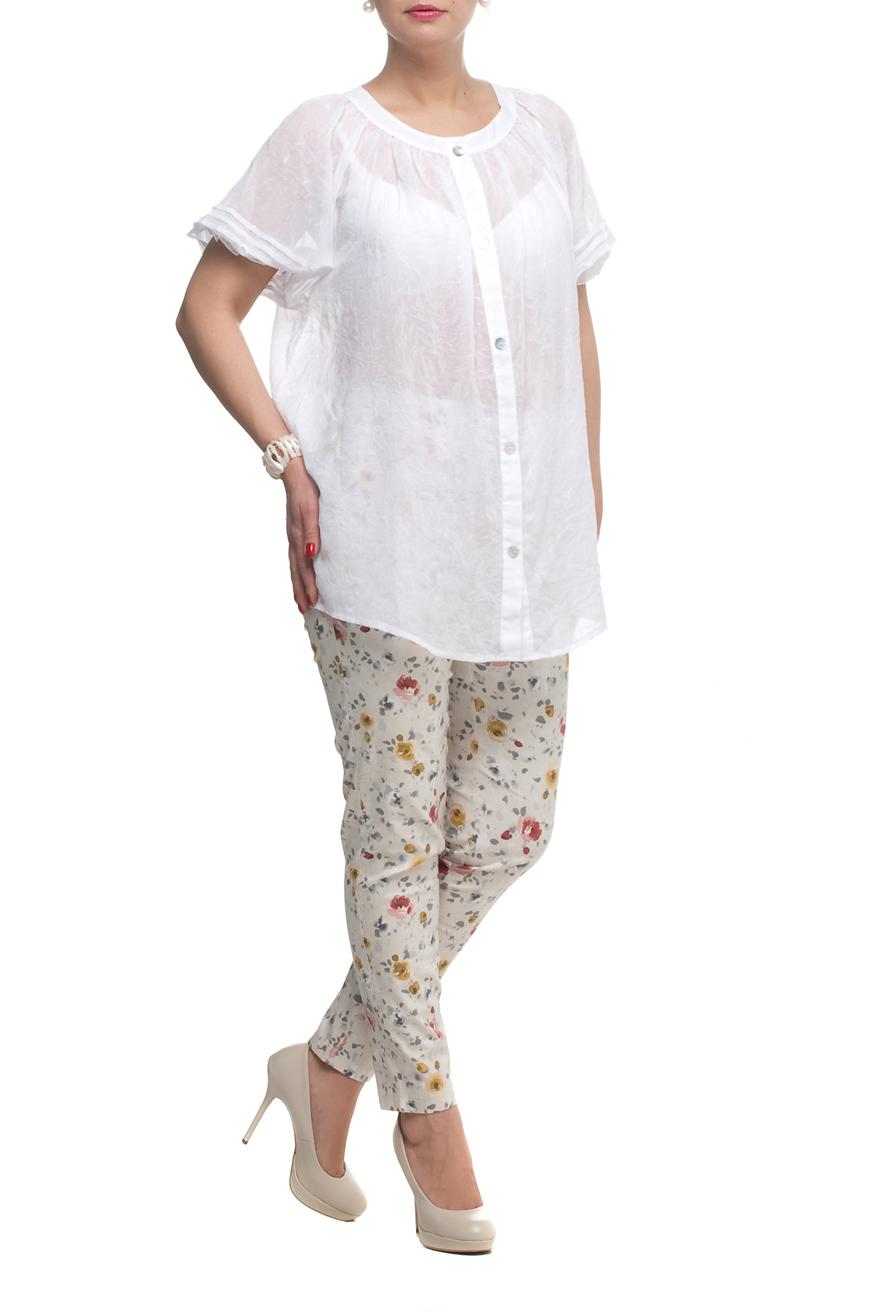 БрюкиБрюки<br>Удобные летние брюки с цветочным принтом. Модель выполнена из хлопкового материала. Отличный выбор для повседневного гардероба.  В изделии использованы цвета: белый, желтый, красный др.  Рост девушки-фотомодели 170 см<br><br>По материалу: Тканевые,Хлопок<br>По рисунку: Растительные мотивы,С принтом,Цветные,Цветочные<br>По силуэту: Приталенные<br>По стилю: Повседневный стиль,Летний стиль<br>По форме: Зауженные<br>По элементам: С карманами<br>По сезону: Лето<br>Размер : 48,50,52,54,56,58<br>Материал: Костюмная ткань<br>Количество в наличии: 6