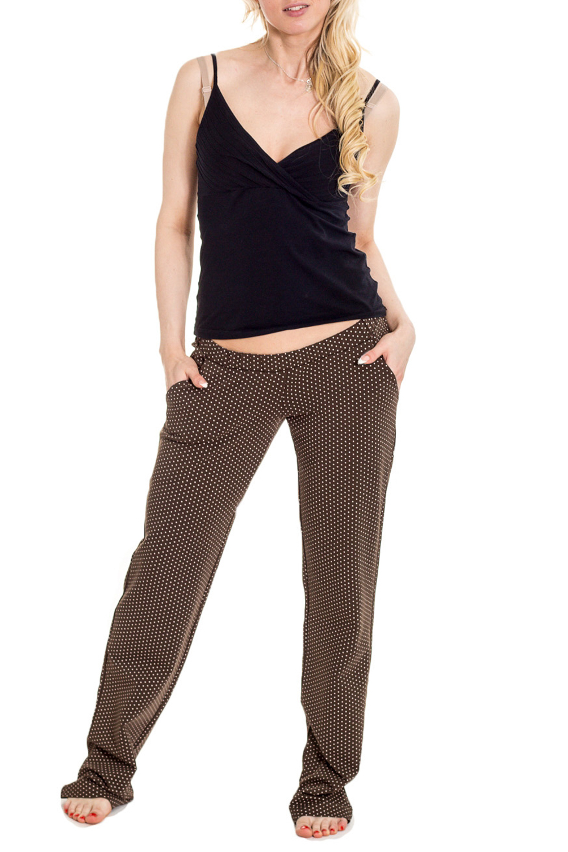 БрюкиОдежда для дома<br>Комфортные домашние брюки из мягкого трикотажа. Домашняя одежда, прежде всего, должна быть удобной, практичной и красивой.  За счет свободного кроя и эластичного материала изделие можно носить во время беременности  Цвет: коричневый, бежевый  Рост девушки-фотомодели 170 см.<br><br>По сезону: Осень,Весна<br>Размер : 42,44,46,50<br>Материал: Трикотаж<br>Количество в наличии: 4