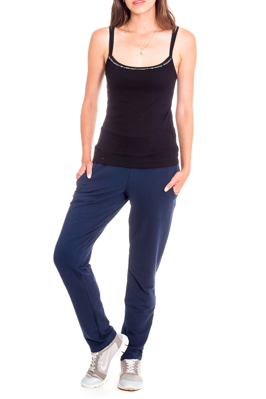 БрюкиСпортивная одежда<br>Удобные брюки из эластичного трикотажа. Отличный выбор для занятий спортом или ативного отдыха. Ростовка 164 см.  Цвет: синий  Рост девушки-фотомодели 170 см<br><br>По длине: Макси<br>По материалу: Трикотаж<br>По рисунку: Однотонные<br>По силуэту: Полуприталенные<br>По стилю: Повседневный стиль,Спортивный стиль<br>По элементам: С карманами<br>По сезону: Осень,Весна<br>Размер : 44,46,50,52,54,56<br>Материал: Трикотаж<br>Количество в наличии: 10