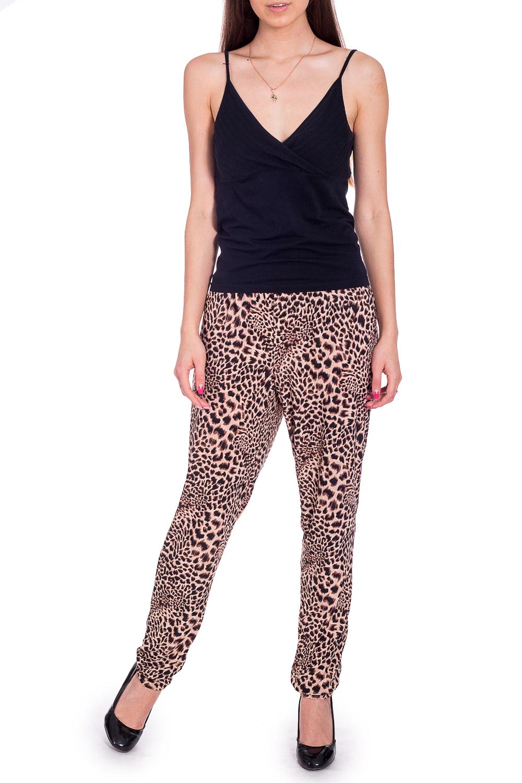 БрюкиБрюки<br>Эффектные брюки из струящегося трикотажа с леопардовым принтом. Отличный выбор для повседневного гардероба.  В изделии использованы цвета: бежевый, коричневый  Рост девушки-фотомодели 170 см.<br><br>По материалу: Трикотаж<br>По образу: Город<br>По рисунку: Животные мотивы,Леопард,С принтом,Цветные<br>По сезону: Весна,Лето<br>По силуэту: Свободные<br>По стилю: Повседневный стиль<br>Размер : 46<br>Материал: Холодное масло<br>Количество в наличии: 1
