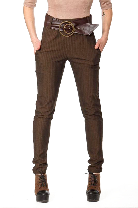 БрюкиБрюки<br>Узкие классические брюки из костюмной ткани-стрейч, посадка на талии. Широкий пояс-кокетка, застежка по спинке на металлическую молнию. Спереди - функциональные карманы, складки по линии пояса для свободы облегания бедра, с маленьким отворотом в низу брючины. Великолепный вариант для повседневного делового гардероба. Брюки без пояса.  Цвет: коричневый  Ширина брючины - 28 см Длина внутреннего шва - 76 см  Параметры изделия (обхват талии, обхват бедер): 46 размер: 74 см., 98 см 48 размер: 78 см., 102 см 50 размер: 82 см., 106 см<br><br>По материалу: Вискоза,Тканевые<br>По образу: Город,Свидание<br>По рисунку: Однотонные<br>По сезону: Весна,Осень,Зима<br>По силуэту: Приталенные<br>По стилю: Офисный стиль,Повседневный стиль<br>По форме: Зауженные<br>По элементам: С завышенной талией<br>Размер : 46,48,50<br>Материал: Костюмная ткань<br>Количество в наличии: 7