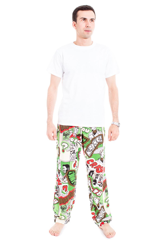 БрюкиБрюки<br>Мужские хлопковые брюки. Отличный вариант для активного отдыха и для домашнего использования.  В изделии использованы цвета: белый, салатовый, красный др.  Рост мужчины-фотомодели 177 см<br><br>По сезону: Всесезон<br>Размер : 48-50,52-54<br>Материал: Трикотаж<br>Количество в наличии: 2