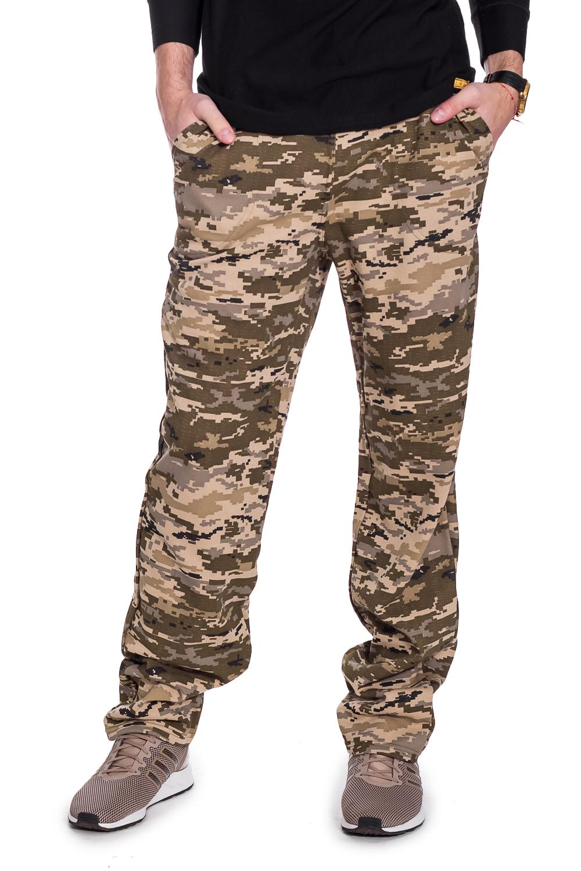 БрюкиБрюки<br>Мужские трикотажные брюки армейской расцветки. Отличный вариант для активного отдыха и для домашнего использования. Ростовка изделия 164 см.  В изделии использованы цвета: бежевый, коричневый и др.  Рост мужчины-фотомодели 182 см.<br><br>По сезону: Осень,Весна<br>Размер : 56,58<br>Материал: Трикотаж<br>Количество в наличии: 3