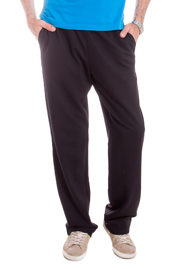 БрюкиБрюки<br>Мужские хлопковые брюки из трикотажа. Отличный выбор для повседневного гардероба и активного отдыха.  Цвет: черный  Рост мужчины-фотомодели 182 см<br><br>По сезону: Всесезон<br>Размер : 46,48,50,52,54,56<br>Материал: Трикотаж<br>Количество в наличии: 21