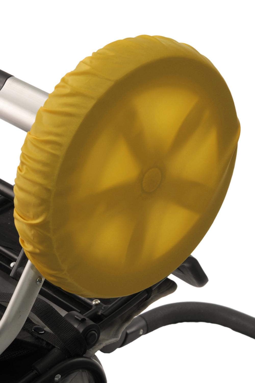 ЧехлыАксессуары<br>Простое решение для защиты от грязи и слякоти в осенне-зимнее время года.  То, что с малышом нужно чаще гулять, знают все. Но как же неохота после этого каждый раз мыть колёса у коляски. А и не нужно Представляем необычайно удобную вещь – специальные чехлы на колёса коляски.  Это прекрасная защита от грязи и слякоти. Незаменимы при ситуации, когда малыш заснул во время прогулки – ведь будить его не хочется. Просто наденьте чехлы на колёса и закатите коляску домой. Чистый пол и хорошее настроение проснувшегося малыша вам обеспечены. Ткань, из которой сделаны чехлы, легко стирается. Размеры чехлов универсальны и рассчитаны практически на любой тип коляски.  Удобно и просто. • защита от грязи и слякоти • не нужно после каждого выхода на улицу мыть колеса коляски • если малыш заснул на прогулке, а нужно уже возвращаться – просто оденьте на колеса чехлы и закатите коляску домой • удобная конструкция предотвратит высыпание засохшей грязи  В наборе 4 шт., d=28-38 см  Цвет: желтый<br><br>По сезону: Всесезон<br>Размер : UNI<br>Материал: Болонья<br>Количество в наличии: 1