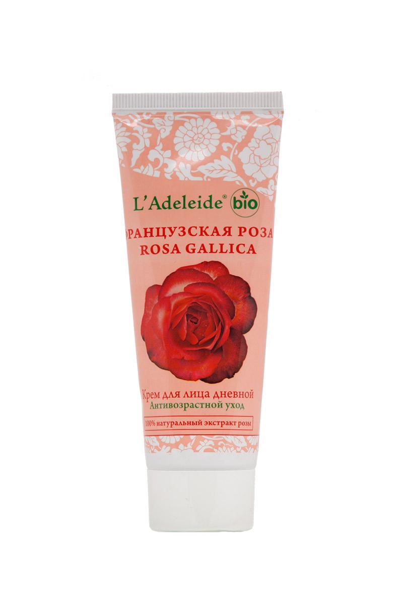Крем для лица дневной Французская розаКремы для лица<br>Крем для лица дневной Французская роза Антивозрастной, 75 мл.  Французская роза – это линия компании L'Adeleide на основе натурального экстракта французской розы, волшебным эффектом которого пользуются многие столетия жительницы Cредиземноморья. Французская роза известна своим регенерирующим и омолаживающим эффектом. Благодаря последним технологиям, мы смогли передать сильный эффект экстракта.   Косметический крем для лица Французская роза легко впитывается, устраняет все признаки уставшей кожи: успокаивает, увлажняет и питает. Сбалансированная формула крема содержит дистиллят розы и важнейшие витамины F  и E.  Крем способствует поддержанию эластичности и упругости кожи. В составе - комплекс Hydrovance®, который обеспечивает тотальное  увлажнение кожи за счет своего проникновения даже в самые глубокие слои эпидермиса. Hydrovance® уменьшает раздражения и воспаления сухой кожи и повышает эластичность. Применение крема стимулирует клеточную регенерацию, препятствует возникновению морщин, способствует разглаживанию мелких морщин, повышает защитные свойства кожи, выравнивает цвет, нормализует активность сальных желез.     0% силиконов, минеральных масел, продуктов животного происхождения, продуктов нефтехимии, синтетических жиров. Гипоаллергенно.  Способ  применения: Нанесите на чистую кожу нежными движениями от центра лица. Подходит как основа под макияж.  Состав: вода, кутина GMS V (структурообразователь растительного происхождения), эмульгейд SE-PF (эмульгатор), растительное масло, цетиол 868 (эмолент), глицерин, эскалол 557 (Уф-фильтр), витамин F, экстракт розы, экстракт ромашки, полиакрилат натрия, консервант, отдушка.   Объем: 75 мл.<br><br>Тип аромата: Цветочный<br>Тип кожи: Зрелая кожа<br>Тип проблемы: Морщины<br>Эффект: Омоложение,Питание,Увлажнение<br>Размер : UNI<br>Количество в наличии: 2