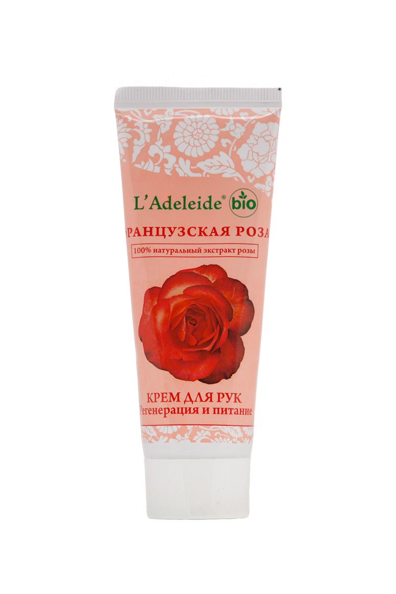 Крем для рук Французская розаКремы для рук<br>Крем для рук Французская роза Антивозрастной, 75 мл.  Французская роза – это линия компании L'Adeleide на основе натурального экстракта французской розы, волшебным эффектом которого пользуются многие столетия жительницы Cредиземноморья. Французская роза известна своим регенерирующим и омолаживающим эффектом. Благодаря последним технологиям, мы смогли передать сильный эффект экстракта.   Косметический крем Французская роза с экстрактом розы и мочевиной. При регулярном применении крем устраняет сухость, успокаивает, питает и увлажняет кожу рук.      0% силиконов, минеральных масел, продуктов животного происхождения, продуктов нефтехимической переработки и синтетических красителей. Гипоаллергенно.  Способ  применения: Нанесите обильное количество крема на руки и ногти, слегка помассируйте до полного впитывания.  Состав: Вода, Cetiol® 868(эмолент), Emulgade® SE-PF (Самоэмульгирующаяся база), Глицерин, Мочевина, Растительное масло смесь, Cosmedia® SP( эмульгатор), Экстракт зверобоя , Экстракт розы, Экстракт тимьяна, Экстракт тысячелистника, Kemaben-2(консервант), парфюмерная композиция.   Объем: 75 мл.<br><br>Тип аромата: Легкий,Цветочный<br>Тип кожи: Жирная кожа,Зрелая кожа,Нормальная кожа,Проблемная кожа,Сухая кожа<br>Эффект: Омоложение,Питание,Увлажнение,Успокаивающий<br>Размер : UNI<br>Количество в наличии: 3