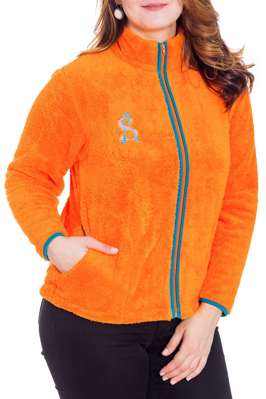 КофтаКофты<br>Женская кофта из мягкого и теплого флиса. Домашняя одежда, прежде всего, должна быть удобной, практичной и красивой. В кофте Вы будете чувствовать себя комфортно, особенно, по вечерам после трудового дня.   Цвет: оранжевый  Рост девушки-фотомодели 180 см<br><br>Воротник: Стойка<br>По рисунку: Однотонные<br>По сезону: Зима<br>По силуэту: Полуприталенные<br>По элементам: С карманами,С молнией<br>Рукав: Длинный рукав<br>Размер : 50<br>Материал: Велсофт<br>Количество в наличии: 1