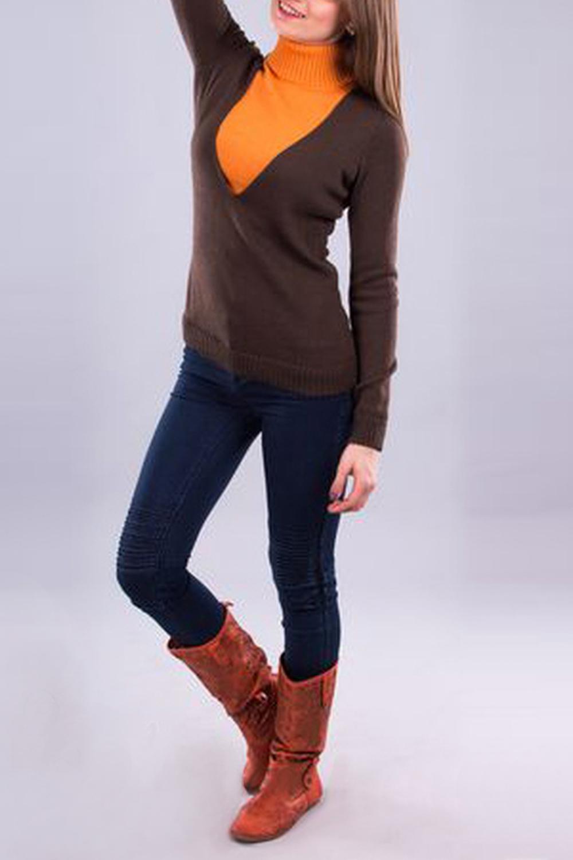 СвитерКофты для будущих мам<br>Незаменимый свитер в гардеробе современной молодой мамы. Позволяет незаметно для окружающих кормить грудью малыша по требованию в любых обстоятельствах.  В изделии использованы цвета: коричневый, оранжевый  Ростовка изделия 170 см.<br><br>Воротник: Стойка<br>По материалу: Вязаные,Трикотаж<br>По образу: Город<br>По рисунку: Цветные<br>По сезону: Зима,Осень,Весна<br>По силуэту: Приталенные<br>По стилю: Повседневный стиль<br>Рукав: Длинный рукав<br>По длине: Средней длины<br>Размер : 44,46,48<br>Материал: Вязаное полотно<br>Количество в наличии: 3