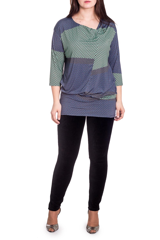 БлузкаБлузки<br>Цветная блузка с горловиной quot;качельquot; и рукавами 3/4. Модель выполнена из приятного трикотажа. Отличный выбор для повседневного гардероба.   В изделии использованы цвета: синий, зеленый, черный  Ростовка изделия 170 см.  Параметры размеров: 48 размер - обхват груди 100 см., обхват талии 84 см., обхват бедер 108 см. 50 размер - обхват груди 104 см., обхват талии 89 см., обхват бедер 112 см. 52 размер - обхват груди 108 см., обхват талии 94 см., обхват бедер 116 см. 54 размер - обхват груди 112 см., обхват талии 99 см., обхват бедер 120 см. 56 размер - обхват груди 116 см., обхват талии 104 см., обхват бедер 124 см. 58 размер - обхват груди 120 см., обхват талии 109 см., обхват бедер 128 см. 60 размер - обхват груди 124 см., обхват талии 114 см., обхват бедер 132 см. 62 размер - обхват груди 128 см., обхват талии 119 см., обхват бедер 136 см. 64 размер - обхват груди 132 см., обхват талии 124 см., обхват бедер 140 см. 66 размер - обхват груди 136 см., обхват талии 129 см., обхват бедер 144 см. 68 размер - обхват груди 140 см., обхват талии 134 см., обхват бедер 148 см. 70 размер - обхват груди 144 см., обхват талии 139 см., обхват бедер 152 см. 72 размер - обхват груди 148 см., обхват талии 144 см., обхват бедер 156 см. 74 размер - обхват груди 152 см., обхват талии 149 см., обхват бедер 160 см. 76 размер - обхват груди 156 см., обхват талии 154 см., обхват бедер 164 см.  Рост девушки-фотомодели 180 см.<br><br>Горловина: Качель<br>По материалу: Вискоза,Трикотаж<br>По рисунку: С принтом,Цветные<br>По сезону: Весна,Зима,Лето,Осень,Всесезон<br>По силуэту: Полуприталенные<br>По стилю: Повседневный стиль<br>Рукав: Рукав три четверти<br>Размер : 54<br>Материал: Холодное масло<br>Количество в наличии: 1