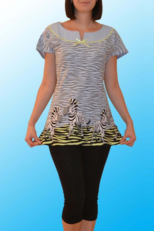 ТуникаТуники<br>Домашняя туника с короткими рукавами. Домашняя одежда, прежде всего, должна быть удобной, практичной и красивой. В нашей домашней одежде Вы будете чувствовать себя комфортно, особенно, по вечерам после трудового дня.  Цвет: серый, желтый, белый, черный  Ростовка изделия 170 см.<br><br>Горловина: С- горловина<br>По рисунку: Зебра,Цветные,С принтом<br>По силуэту: Полуприталенные<br>По элементам: С декором<br>Рукав: Короткий рукав<br>По сезону: Осень,Весна<br>По материалу: Хлопок<br>Размер : 50,52<br>Материал: Хлопок<br>Количество в наличии: 2