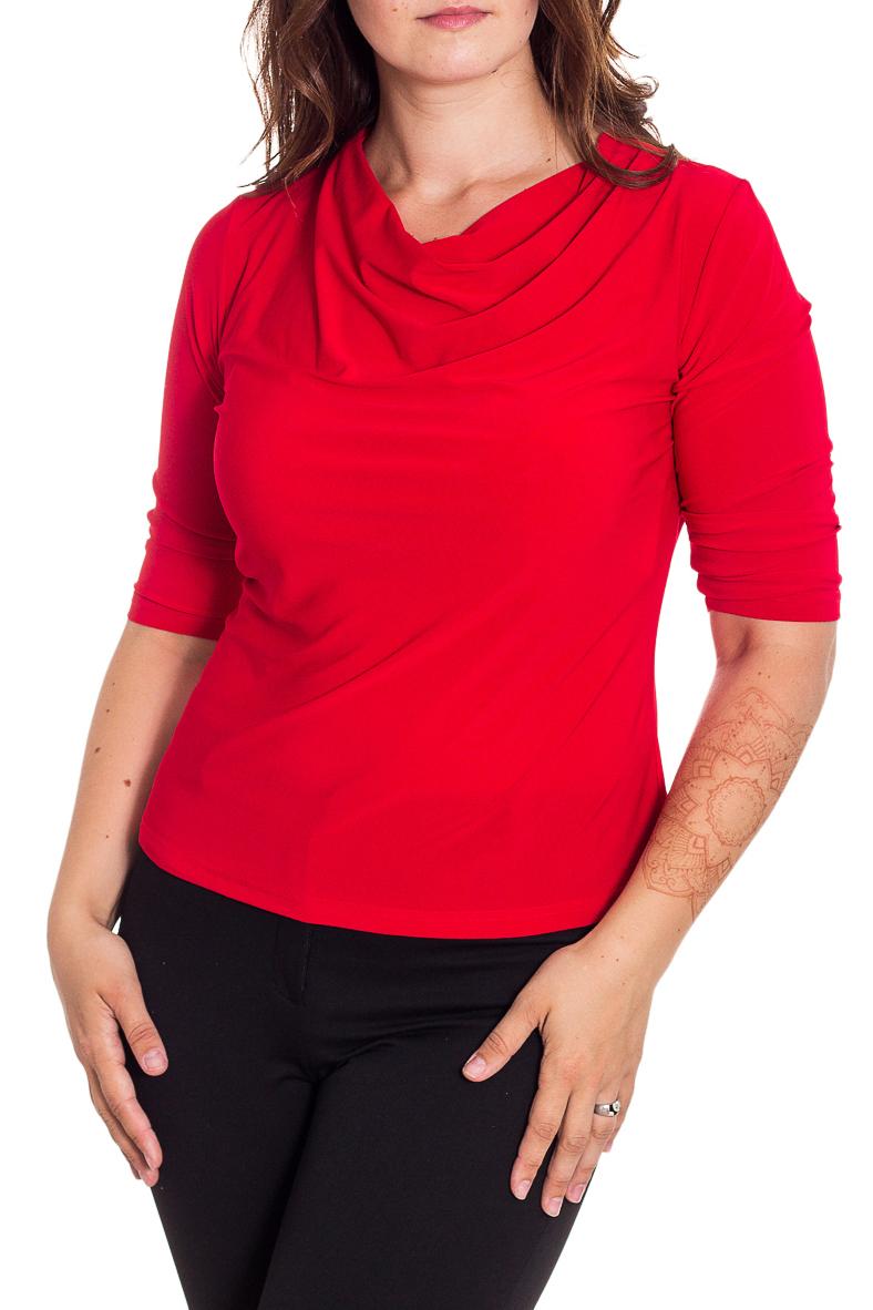 ДжемперБлузки<br>Стильный джемпер с воротником качель и рукавами 3/4 актуального насыщенного темно-зеленого оттенка. Модель приталенного силуэта из нежного трикотажа. Удобный вариант для современной женщины. Этот джемпер станет прекрасным дополнением любого элемента Вашего гардероба.  Цвет: красный  Рост девушки-фотомодели 180 см.<br><br>Горловина: Качель<br>По материалу: Трикотаж<br>По образу: Город<br>По рисунку: Однотонные<br>По сезону: Весна,Зима,Лето,Осень,Всесезон<br>По силуэту: Приталенные<br>По стилю: Повседневный стиль<br>Рукав: Рукав три четверти<br>Размер : 48,50,52,54<br>Материал: Холодное масло<br>Количество в наличии: 3