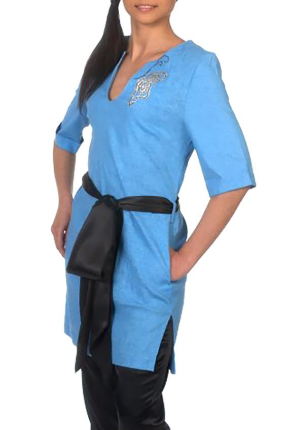 ТуникаТуники<br>Отличная туника свободного покроя с круглым вырезом, двумя карманами. Изделие декорировано оригинальным рисунком на груди. Модель выполнена из 100% льна. Лен обладает сильной энергетикой, способной предохранить от депрессии, обеспечивает Вам здоровье, элегантность, комфорт и уют, имеет отличную воздухопроницаемость и теплоотдачу. Туника без пояса.  Модель идеально будет смотреться с брюками B(4)-NNE (для просмотра модели введите артикул в строке поиска)  Цвет: голубой  Ростовка изделия 170 см.<br><br>Горловина: Фигурная горловина<br>По материалу: Лен<br>По образу: Город<br>По рисунку: Однотонные,С принтом<br>По силуэту: Полуприталенные<br>По стилю: Повседневный стиль<br>По элементам: С карманами,С манжетами<br>Рукав: До локтя<br>По сезону: Лето<br>Размер : 46,50<br>Материал: Лен<br>Количество в наличии: 3