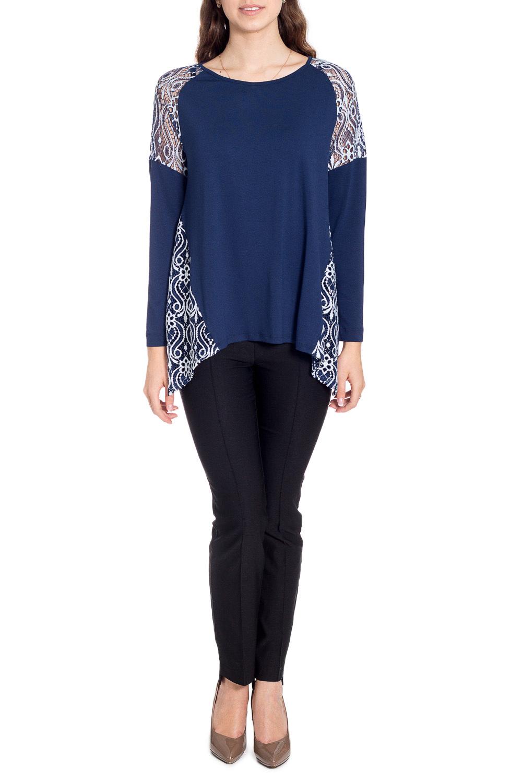БлузкаБлузки<br>Чудесная блузка с фигурным подолом. Модель выполнена из приятного материала. Отличный выбор для любого случая.  В изделии использованы цвета: синий, белый  Рост девушки-фотомодели 170 см<br><br>Горловина: С- горловина<br>По материалу: Вискоза,Трикотаж<br>По рисунку: Цветные<br>По сезону: Весна,Зима,Лето,Осень,Всесезон<br>По силуэту: Свободные<br>По стилю: Нарядный стиль,Повседневный стиль<br>По элементам: С декором,С фигурным низом<br>Рукав: Длинный рукав<br>Размер : 42,44,46,48,50<br>Материал: Трикотаж + Гипюр<br>Количество в наличии: 5