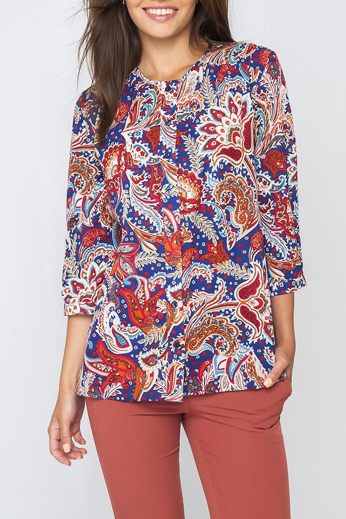 БлузкаБлузки<br>Женская блузка с круглой горловиной и рукавами 3/4. Модель выполнена из воздушного шифона. Отличный выбор для любого случая.  Цвет: синий, красный, оранжевый  Параметры изделия:  44 размер: длина изделия по спинке - 67 см, полуобхват по линии груди - 51 см, длина рукава - 44 см;  54 размер: длина изделия по спинке - 71 см, полуобхват по линии груди - 61 см, длина рукава - 45 см.<br><br>Горловина: С- горловина<br>По материалу: Шифон<br>По рисунку: Цветные,С принтом,Этнические<br>По сезону: Весна,Всесезон,Зима,Лето,Осень<br>По силуэту: Свободные<br>По стилю: Повседневный стиль<br>Рукав: Рукав три четверти<br>Застежка: С пуговицами<br>Размер : 48,58<br>Материал: Шифон<br>Количество в наличии: 2