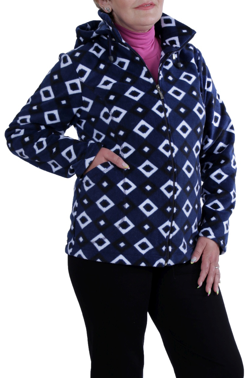 КофтаКофты<br>Мягкая, теплая и уютная женская кофта. Модель выполнена из приятного флиса. Отличный выбор для повседневного гардероба.  Цвет: синий, белый, черный  Ростовка изделия 170 см.<br><br>Воротник: Стойка<br>Застежка: С молнией<br>По длине: Средней длины<br>По материалу: Трикотаж<br>По образу: Город<br>По рисунку: Геометрия,С принтом,Цветные<br>По силуэту: Полуприталенные<br>По стилю: Повседневный стиль<br>По элементам: С капюшоном,С карманами<br>Рукав: Длинный рукав<br>По сезону: Осень,Весна<br>Размер : 48,50,52,58<br>Материал: Флис<br>Количество в наличии: 4