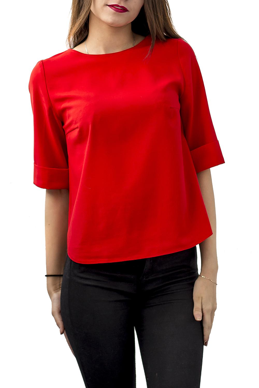 БлузкаБлузки<br>Яркая блузка прямого силуэта с круглой горловиной и рукавами до локтя. Модель выполнена из приятного материала. Отличный выбор для эффектного выхода.  Цвет: красный  Ростовка изделия 168 см.<br><br>Горловина: С- горловина<br>По материалу: Блузочная ткань,Вискоза<br>По рисунку: Однотонные<br>По сезону: Весна,Зима,Лето,Осень,Всесезон<br>По силуэту: Прямые<br>По стилю: Нарядный стиль,Повседневный стиль<br>По элементам: С манжетами<br>Рукав: До локтя<br>Размер : 42,44,46,48<br>Материал: Плательно-блузочная ткань<br>Количество в наличии: 4