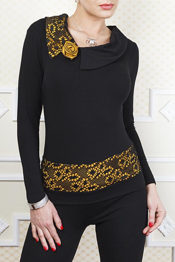 БлузкаБлузки<br>Элегантная блузка с гипюровой кокеткой по полочке и спинке, рукав 3/4 так же украшен гипюром. Подойдет под юбку и брюки.  Цвет: черный, желтый  Параметры (обхват груди; обхват талии; обхват бедер): 44 размер - 88; 66,4; 96 см 46 размер - 92; 70,6; 100 см 48 размер - 96; 74,2; 104 см 50 размер - 100; 90; 106 см 52 размер - 104; 94; 110 см 54-56 размер - 108-112; 98-102; 114-118 см 58-60 размер - 116-120; 106-110; 124-130 см<br><br>Воротник: Отложной<br>По материалу: Вискоза,Гипюр,Тканевые<br>По сезону: Весна,Зима,Лето,Осень,Всесезон<br>По силуэту: Полуприталенные<br>По стилю: Нарядный стиль,Повседневный стиль<br>По элементам: С декором<br>Рукав: Длинный рукав<br>По рисунку: Цветные<br>Размер : 48,50,52<br>Материал: Трикотаж + Гипюр<br>Количество в наличии: 3