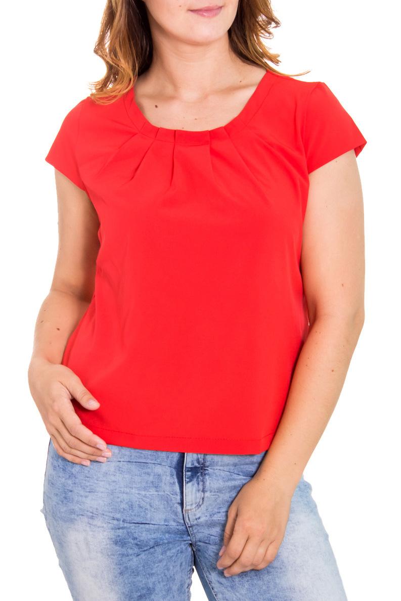 БлузкаБлузки<br>Утонченная женская блузка с коротким рукавом. Цвет: красный.<br><br>Горловина: С- горловина<br>По материалу: Блузочная ткань<br>По образу: Город,Свидание,Офис<br>По сезону: Весна,Всесезон,Зима,Лето,Осень<br>По силуэту: Прямые<br>По стилю: Повседневный стиль,Классический стиль,Кэжуал,Офисный стиль<br>По элементам: С декором,Со складками<br>Рукав: Короткий рукав<br>По рисунку: Однотонные<br>Размер : 50<br>Материал: Блузочная ткань<br>Количество в наличии: 1