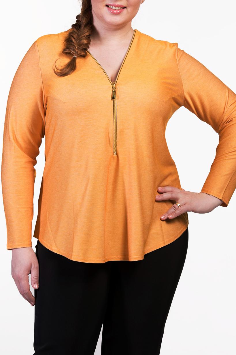 БлузкаБлузки<br>Однотонная блузка с длинными рукавами.  Повседневная одежда должна выполнять не только защитную, но и декоративную функцию, скрывая недостатки и подчеркивая достоинства. Поэтому одежда для полных должна быть прямого или свободного силуэта.  Цвет: желтый  Ростовка изделия 170 см.<br><br>Горловина: V- горловина<br>Застежка: С молнией<br>По материалу: Трикотаж<br>По рисунку: Однотонные<br>По сезону: Весна,Зима,Лето,Осень,Всесезон<br>По силуэту: Прямые<br>По стилю: Повседневный стиль<br>По элементам: С отделочной фурнитурой<br>Рукав: Длинный рукав<br>Размер : 56-58,64-66<br>Материал: Трикотаж<br>Количество в наличии: 2