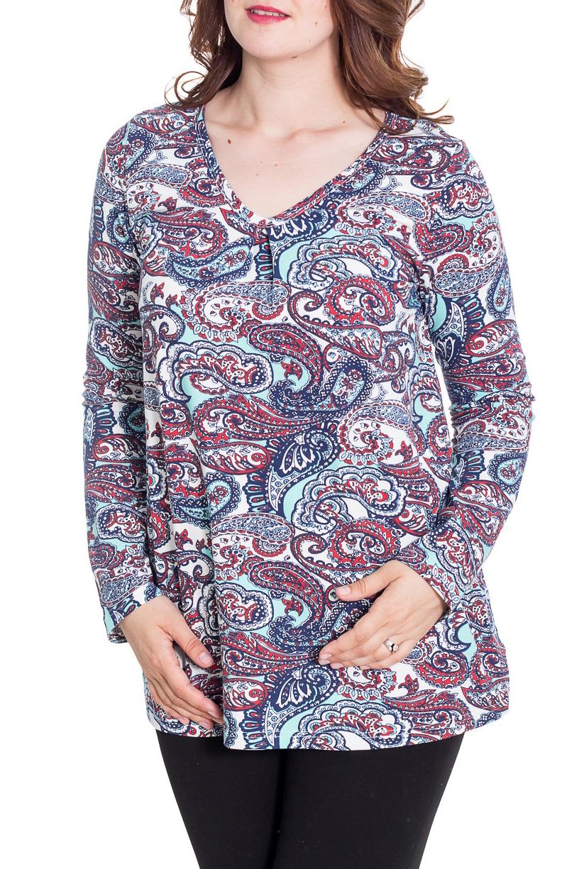 ТуникаТуники<br>Цветная туника с длинными рукавами. Модель выполнена из приятного материала. Отличный выбор для повседневного гардероба.   За счет свободного кроя и эластичного материала изделие можно носить во время беременности  Цвет: голубой, красный, синий  Рост девушки-фотомодели 180 см<br><br>Горловина: V- горловина<br>По материалу: Трикотаж,Хлопок<br>По рисунку: С принтом,Цветные,Этнические<br>По стилю: Повседневный стиль<br>Рукав: Длинный рукав<br>По сезону: Осень,Весна<br>По силуэту: Прямые<br>Размер : 46<br>Материал: Трикотаж<br>Количество в наличии: 1
