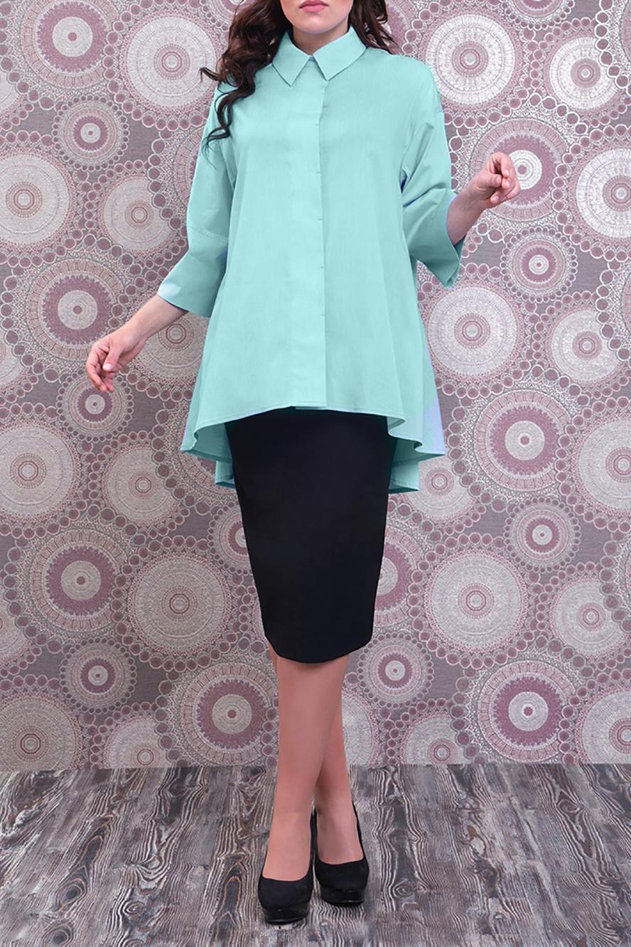 БлузкаБлузки<br>Удлиненная блузка с рубашечным воротником и рукавами 3/4. Модель выполнена из приятного материала. Отличный выбор для любого случая.  Цвет: бирюзовый  Ростовка изделия 170 см.<br><br>Воротник: Рубашечный<br>Застежка: С пуговицами<br>По материалу: Тканевые,Хлопок<br>По рисунку: Однотонные<br>По сезону: Весна,Зима,Лето,Осень,Всесезон<br>По силуэту: Полуприталенные<br>По стилю: Офисный стиль,Повседневный стиль<br>По элементам: С фигурным низом<br>Рукав: Рукав три четверти<br>Размер : 50,52<br>Материал: Блузочная ткань<br>Количество в наличии: 2