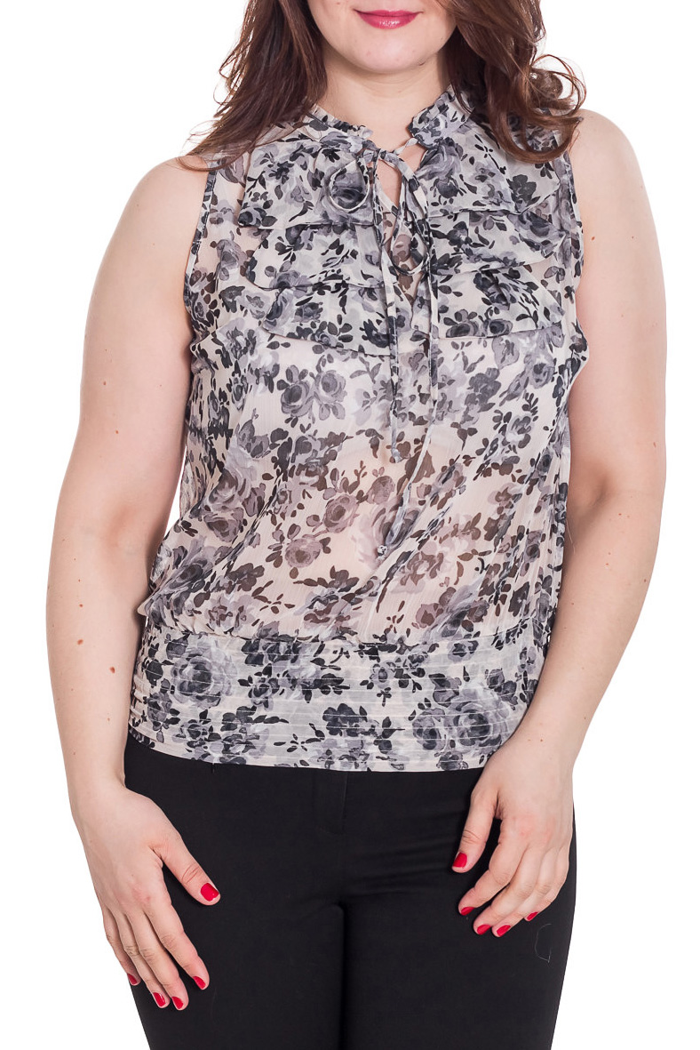 БлузкаБлузки<br>Цветная блузка без рукавов. Модель выполнена из приятного материала. Отличный выбор для любого случая.  Цвет: белый, черный  Рост девушки-фотомодели 180 см<br><br>Застежка: С завязками<br>По материалу: Вискоза,Шифон<br>По рисунку: Растительные мотивы,С принтом,Цветные,Цветочные<br>По сезону: Весна,Зима,Лето,Осень,Всесезон<br>По силуэту: Свободные<br>По стилю: Повседневный стиль,Летний стиль<br>По элементам: С воланами и рюшами<br>Рукав: Без рукавов<br>Размер : 46,48,50,52<br>Материал: Шифон<br>Количество в наличии: 6