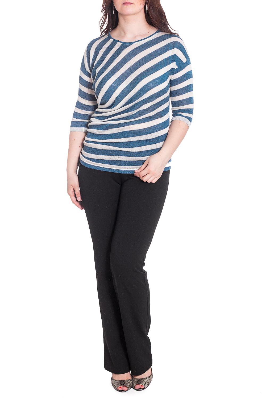БлузкаДжемперы<br>Полосатый джемпер с круглой горловиной и рукавами 3/4. Модель выполнена из мягкого трикотажа. Отличный выбор для повседневного гардероба.  В изделии использованы цвета: сине-голубой, белый  Рост девушки-фотомодели 180 см.<br><br>Горловина: С- горловина<br>По материалу: Трикотаж<br>По рисунку: В полоску,Цветные<br>По силуэту: Полуприталенные<br>По стилю: Кэжуал,Повседневный стиль<br>Рукав: Рукав три четверти<br>По сезону: Осень,Весна<br>Размер : 48,50,52,54,56,58<br>Материал: Трикотаж<br>Количество в наличии: 6
