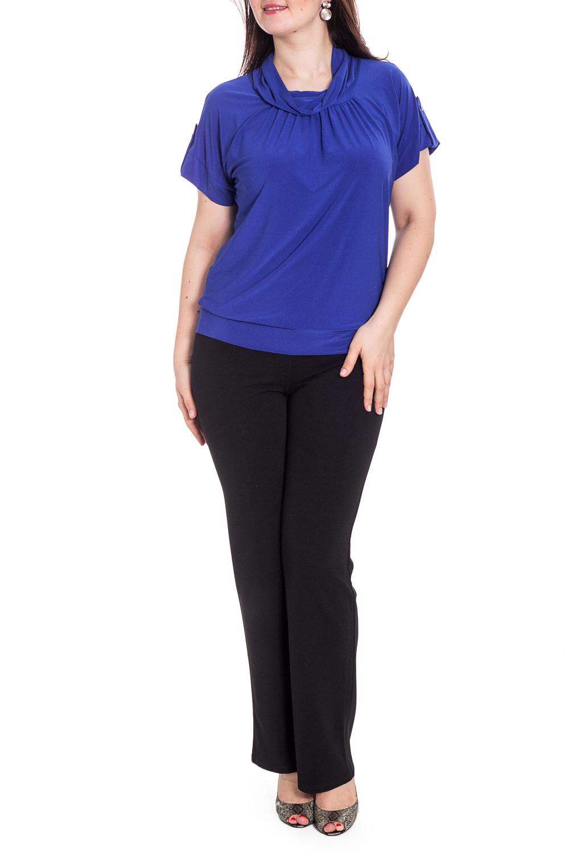 БлузкаБлузки<br>Однотонная блузка с короткими рукавами. Модель выполнена из приятного трикотажа. Отличный выбор для повседневного гардероба.   В изделии использованы цвета: синий  Рост девушки-фотомодели 180 см.<br><br>Воротник: Хомут<br>По материалу: Трикотаж<br>По рисунку: Однотонные<br>По сезону: Весна,Зима,Лето,Осень,Всесезон<br>По силуэту: Полуприталенные<br>По стилю: Повседневный стиль<br>По элементам: С декором,С патами<br>Рукав: Короткий рукав<br>Размер : 46,50,56<br>Материал: Холодное масло<br>Количество в наличии: 3