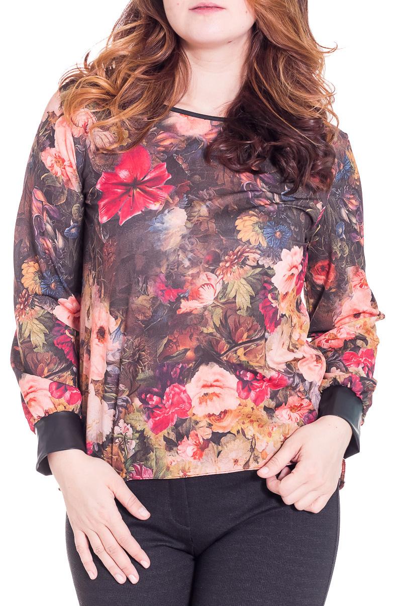 БлузкаБлузки<br>Замечательная блузка с длинными рукавами. Модель выполнена из приятного материала. Отличный выбор для любого случая.  Цвет: коричневый, бежевый, розовый, зеленый  Рост девушки-фотомодели 180 см<br><br>Горловина: С- горловина<br>По материалу: Блузочная ткань,Тканевые<br>По рисунку: Растительные мотивы,Цветные,Цветочные<br>По сезону: Весна,Всесезон,Зима,Лето,Осень<br>По силуэту: Свободные<br>По стилю: Повседневный стиль<br>Рукав: Длинный рукав<br>Размер : 52-54<br>Материал: Блузочная ткань<br>Количество в наличии: 1
