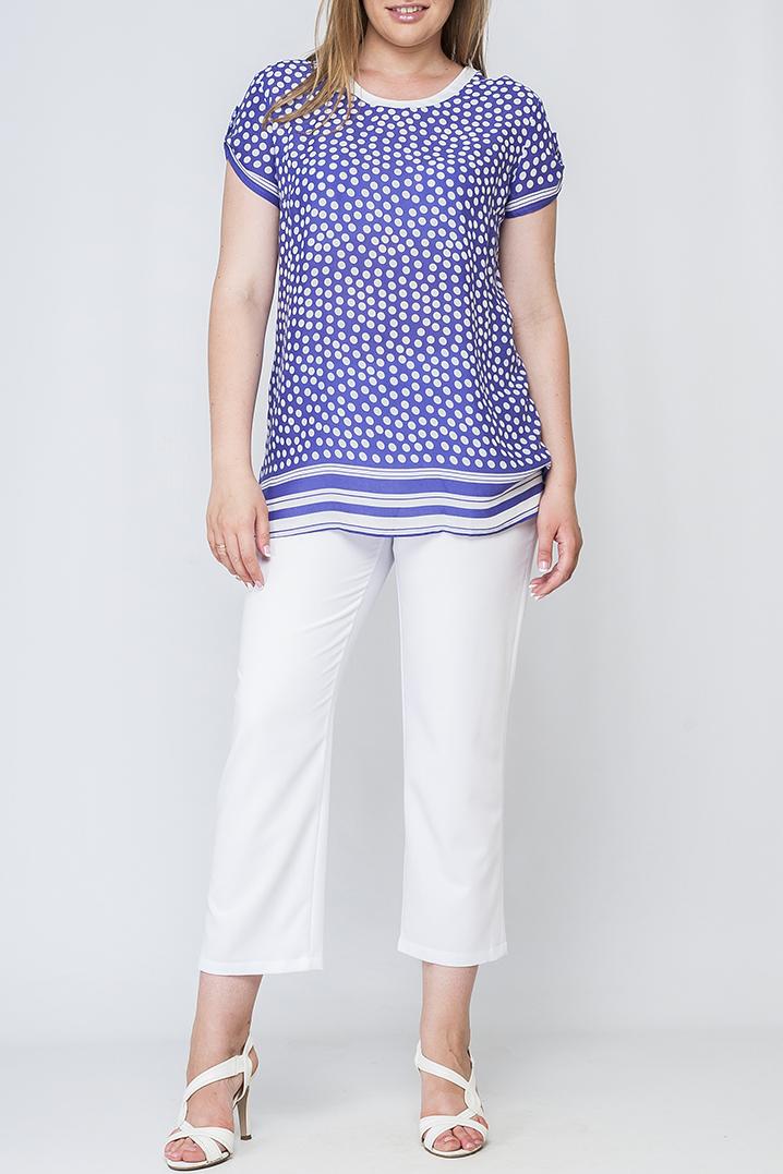 БлузкаБлузки<br>Цветная блузка с круглой горловиной и короткими рукавами. Модель выполнена из хлопкового материала. Отличный выбор для повседневного гардероба.  Параметры изделия:  42 размер: обхват груди 94 см, длина изделия 68 см;  46 размер: обхват груди 102 см, длина изделия 75 см.  Цвет: синий, белый  Рост девушки-фотомодели 175 см<br><br>Горловина: С- горловина<br>По материалу: Хлопок<br>По образу: Город,Свидание<br>По рисунку: В горошек,С принтом,Цветные<br>По сезону: Весна,Зима,Лето,Осень,Всесезон<br>По силуэту: Свободные<br>По стилю: Повседневный стиль<br>Рукав: Короткий рукав<br>Размер : 42,52<br>Материал: Хлопок<br>Количество в наличии: 3