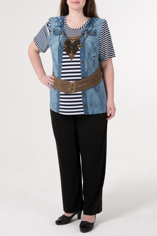 БлузкаБлузки<br>Удлиненная блузка с круглой горловиной и рукавами до локтя. Модель выполнена из приятного трикотажа. Отличный выбор для повседневного гардероба.  В изделии использованы цвета: синий, белый и др.  Ростовка изделия 170 см.<br><br>Горловина: С- горловина<br>Рукав: До локтя<br>Материал: Трикотаж<br>Рисунок: С принтом,Цветные<br>Сезон: Весна,Всесезон,Зима,Лето,Осень<br>Силуэт: Полуприталенные<br>Стиль: Повседневный стиль<br>Размер : 58,60,62<br>Материал: Холодное масло<br>Количество в наличии: 11