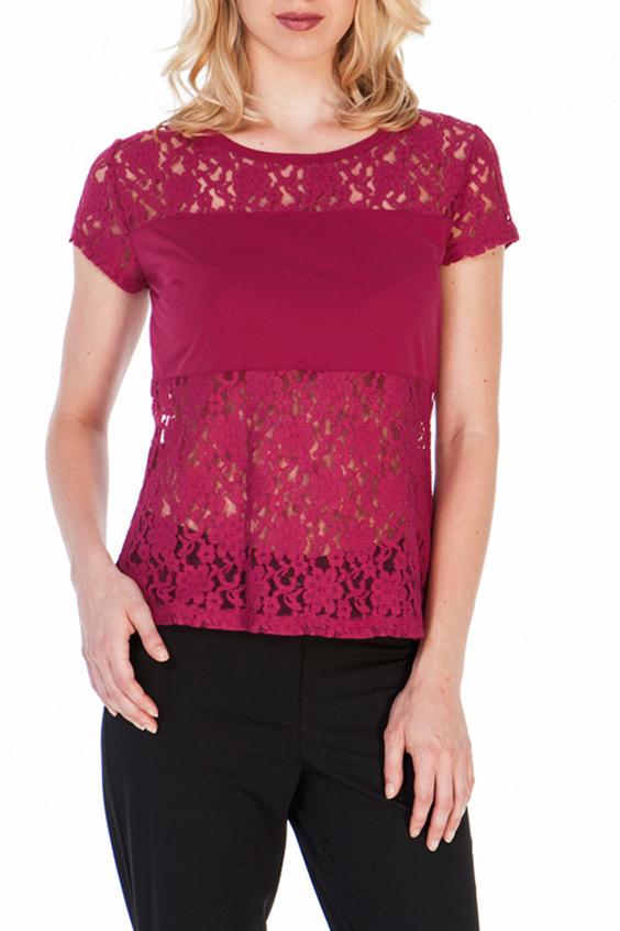 БлузкаБлузки<br>Чудесная блузка с круглой горловиной. Модель выполнена из трикотажа и гипюра. Отличный выбор для любого торжества  Цвет: малиновый  Ростовка изделия 170 см.<br><br>Горловина: С- горловина<br>По материалу: Гипюр,Трикотаж<br>По рисунку: Однотонные,Растительные мотивы,С принтом,Фактурный рисунок,Цветочные<br>По сезону: Весна,Зима,Лето,Осень,Всесезон<br>По силуэту: Приталенные<br>По стилю: Нарядный стиль,Повседневный стиль,Вечерний стиль,Летний стиль<br>Рукав: Без рукавов<br>Размер : 44,46,48,50<br>Материал: Трикотаж + Гипюр<br>Количество в наличии: 4