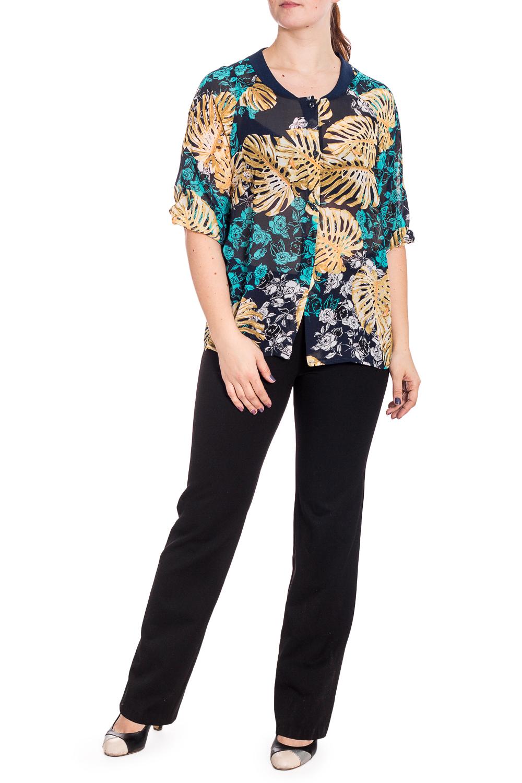 БлузкаБлузки<br>Изумительная, женственнная блузка с рукавами 3/4. Модель станет прекрасной составляющей Вашего модного гардероба.  В изделии использованы цвета: синий, бежевый, бирюзовый и др.  Рост девушки-фотомодели 180 см<br><br>Горловина: С- горловина<br>Застежка: С пуговицами<br>По материалу: Шифон<br>По рисунку: Растительные мотивы,С принтом,Цветные,Цветочные<br>По сезону: Весна,Зима,Лето,Осень,Всесезон<br>По силуэту: Полуприталенные<br>По стилю: Повседневный стиль,Летний стиль<br>Рукав: Рукав три четверти<br>Размер : 50-52<br>Материал: Шифон<br>Количество в наличии: 1