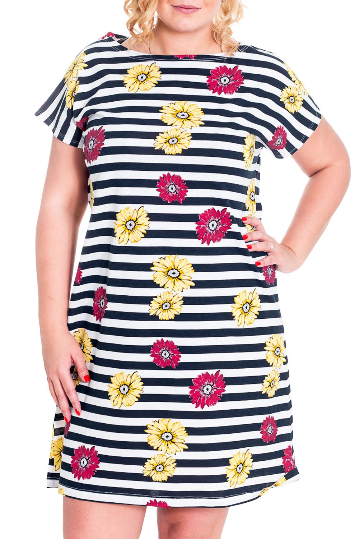 Платье-туникаПлатья<br>Домашнее платье-туника с короткими рукавами. Домашняя одежда, прежде всего, должна быть удобной, практичной и красивой. В платье-тунике Вы будете чувствовать себя комфортно, особенно, по вечерам после трудового дня.  Цвет: белый, синий, желтый, розовый  Рост девушки-фотомодели 170 см.<br><br>Горловина: С- горловина<br>По рисунку: В полоску,Растительные мотивы,Цветные,Цветочные<br>По сезону: Лето<br>По силуэту: Свободные<br>Рукав: Короткий рукав<br>По материалу: Хлопок<br>Размер : 46<br>Материал: Хлопок<br>Количество в наличии: 2