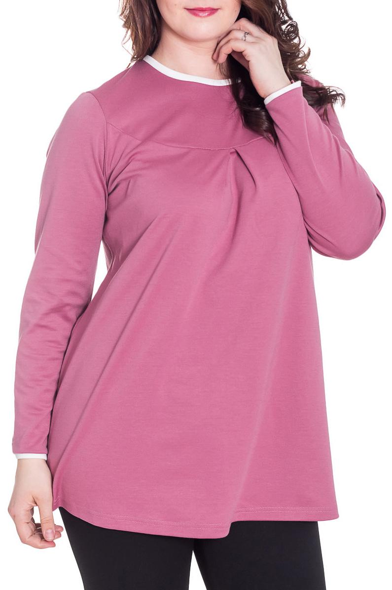 ТуникаТуники<br>Однотонная туника с круглой горловиной и длинными рукавами. Модель выполнена из приятного трикотажа. Отличный выбор для повседневного гардероба.  За счет свободного кроя и эластичного материала изделие можно носить во время беременности  Цвет: розовый, белый  Рост девушки-фотомодели 180 см<br><br>Горловина: С- горловина<br>По материалу: Вискоза,Трикотаж<br>По рисунку: Однотонные<br>По силуэту: Свободные<br>По стилю: Повседневный стиль<br>Рукав: Длинный рукав<br>По сезону: Осень,Весна,Зима<br>Размер : 46,48,50<br>Материал: Джерси<br>Количество в наличии: 3
